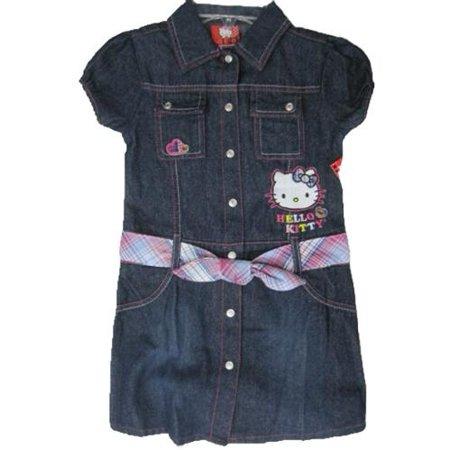 Little Girls Blue Denim Plaid Waistband Button Dress - Girls Plaid Dress