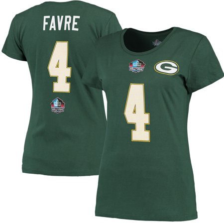 Brett Favre Green Bay Packers Majestic Women's Hall of Fame Fair Catch Name & Number Plus Size T-Shirt - Green Brett Favre Green Bay Packers