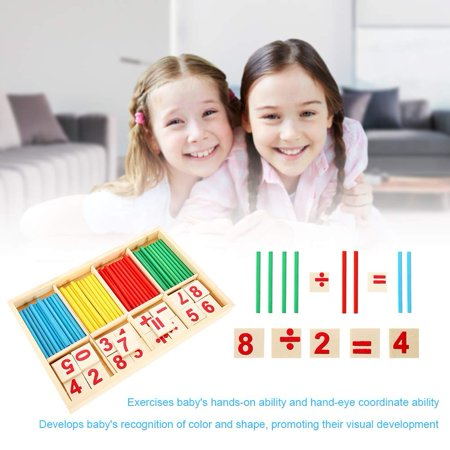 Wooden Block Toy,Kids Educational Wooden Toy Set Baby Children Preschool Math Learning Props Wood Blocks