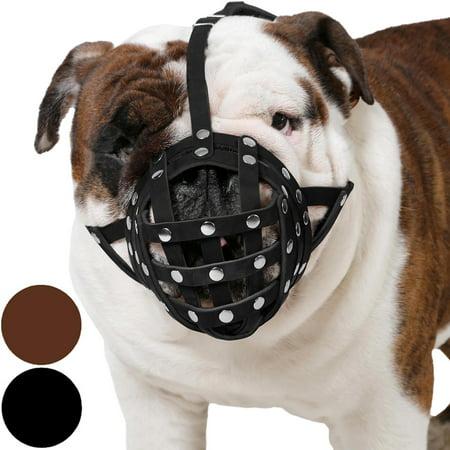Bulldog Muzzle (Basket Dog Muzzle for Boxer English Bulldog American Bulldog Secure Leather Muzzle,)