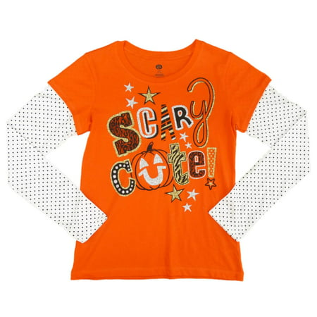 Happy Halloween Girls Orange Scary Cute Long Sleeve T-Shirt X-large 14-16