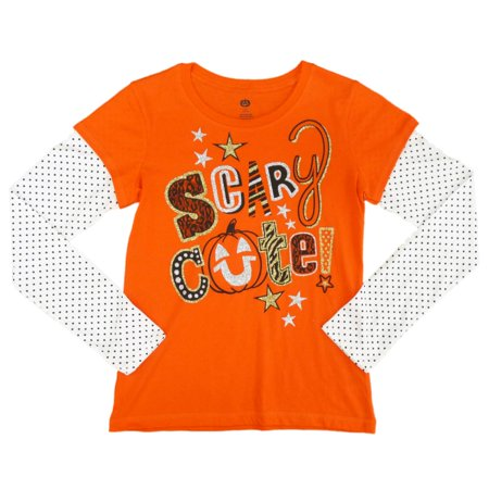 Happy Halloween Girls Orange Scary Cute Long Sleeve T-Shirt X-large 14-16 (Scary Halloween Girl)