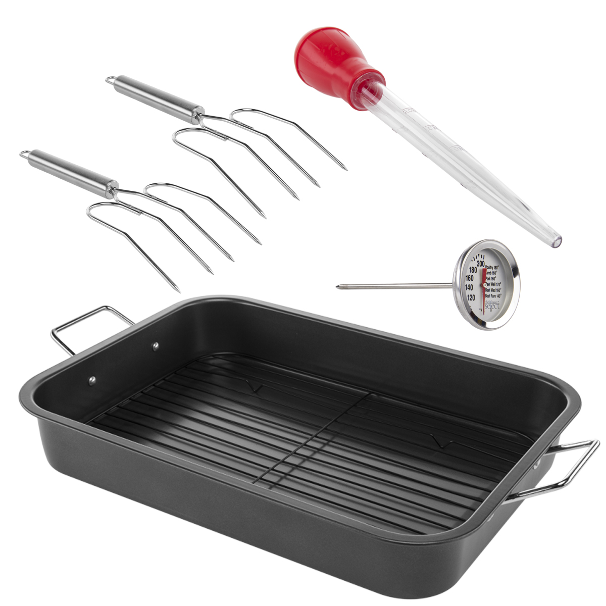 6pc Chefs Basics Select Nonstick Roasting Pan Set With Rack, Baster, Lifter & Thermometer Bakeware Turkey Rack by Chefs Basics Select