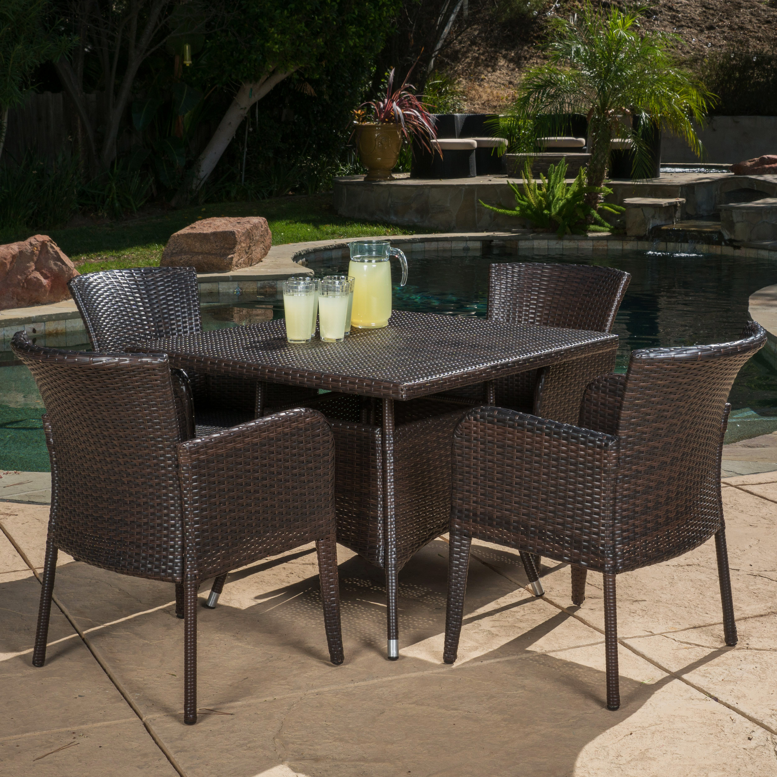 Ramsey 5 Piece Outdoor Square Wicker Dining Set, Multibrown