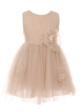 19b3e602ff5b ... by Sophias Style Boutique Inc. Product Image Little Girls Champagne  Organza Floral Accent Lace Tulle Flower Girl Dress. Cinderella Couture