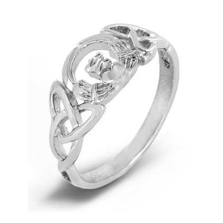 Polished Celtic Trinity Knot Claddagh Stainless Steel Ring (8mm)