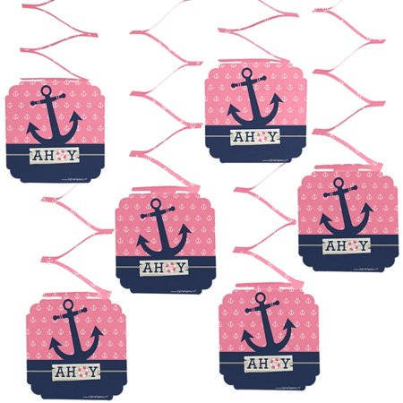 Nautical Hanging Decorations (Ahoy - Nautical Girl - Party Hanging Decorations - 6)