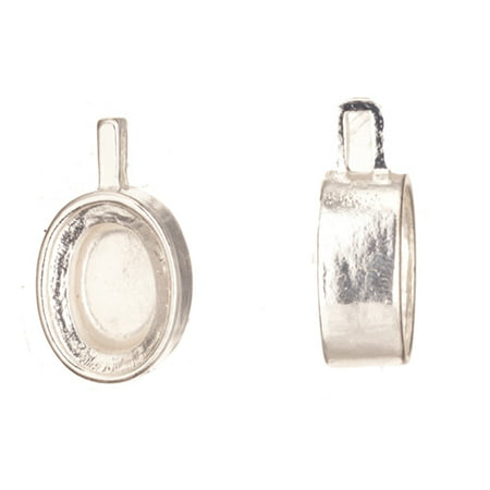 Pendant, Silver Plated Adjustable Oval Cabochon Setting 29x16mm With 18x14mm Mount 2pcs/pack (3-Pack Value Bundle), SAVE $2