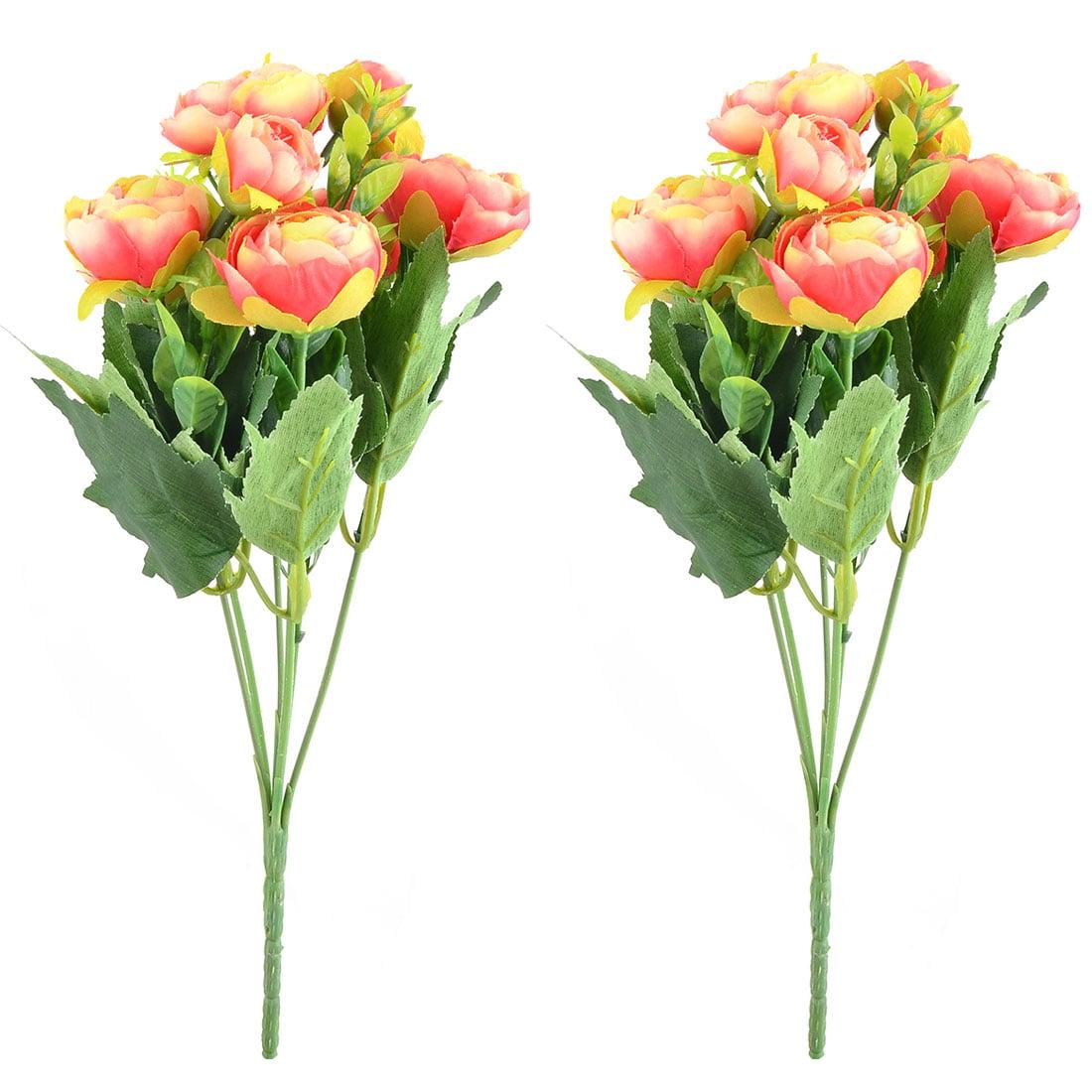 Fabric Camellia Shaped Craft Decor Artificial Flower Bouquet Hot Pink Beige 2pcs