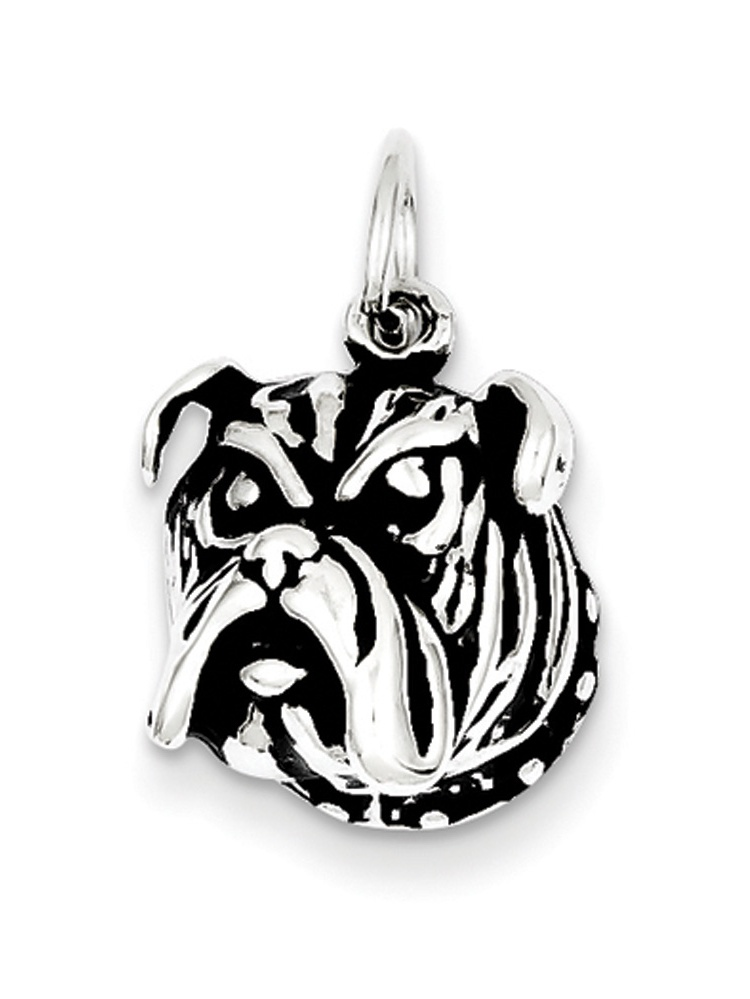 Beautiful Sterling silver 925 sterling Sterling Silver Antiqued Bull Dog Charm