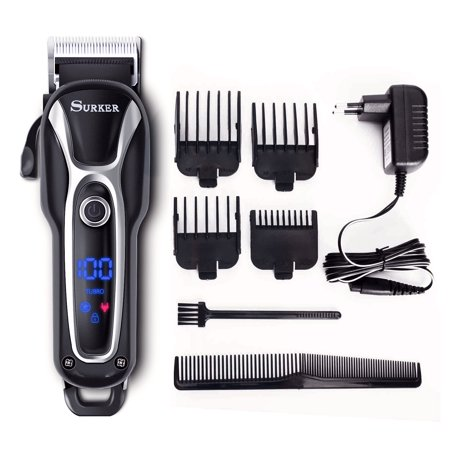 Surker SK-80502 Professional Rechargeable Men's Cordless Hair Clippers With Ceramic Blades and LCD Display