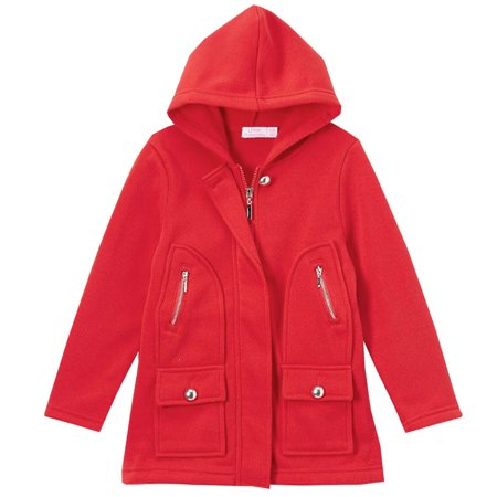 Littoe Potatoes Little Girls Red Flap Pockets Button Accents Hooded  - Accented Front Flap