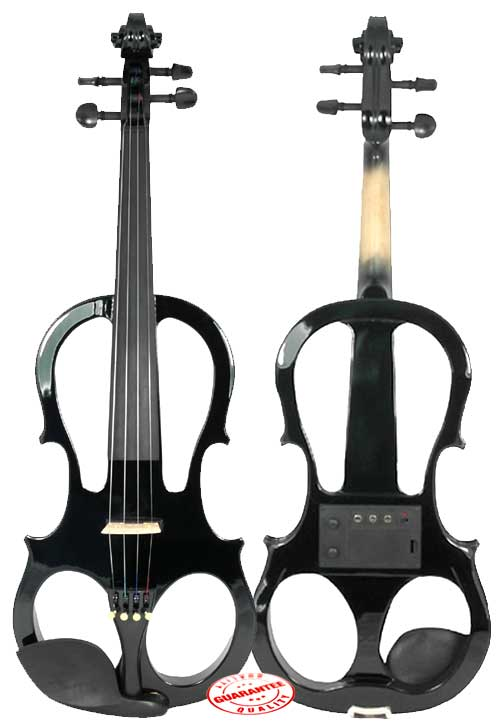 Fever Solid Wood Black Electric Violin with Ebony Fittings by Fever
