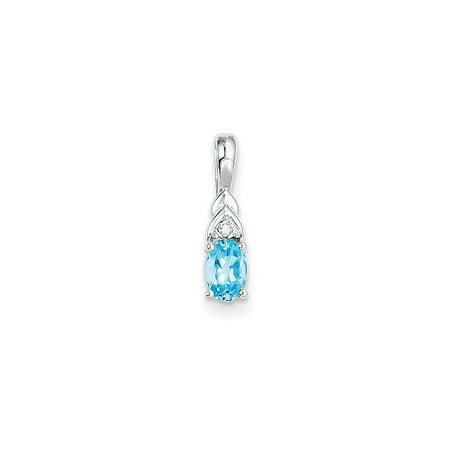 14k White Gold Blue Topaz Diamond Pendant Charm Necklace Gemstone Birthstone December Set Style 14k White Gold Gemstone Necklace
