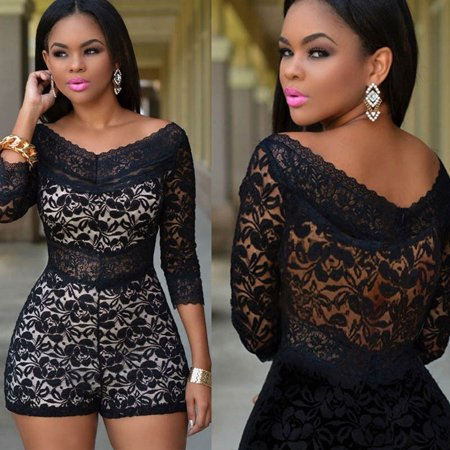 bc9f4854ca2d Meihuida - Black Floral Lace Sexy V-neck Women Shorts Bodycon Jumpsuit  Romper Bodysuit Club Party Dress S M L XL - Walmart.com