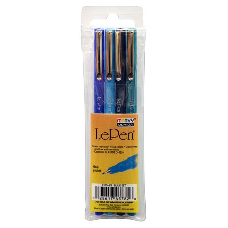 Le Pen Colored Pen Set G, Blue, 4 Count ()