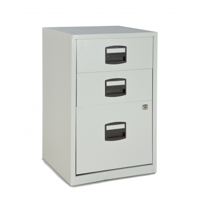 Bisley Three Drawer Steel Home Filing Cabinet, Light Gray BDSFILE3LG by Bindertek