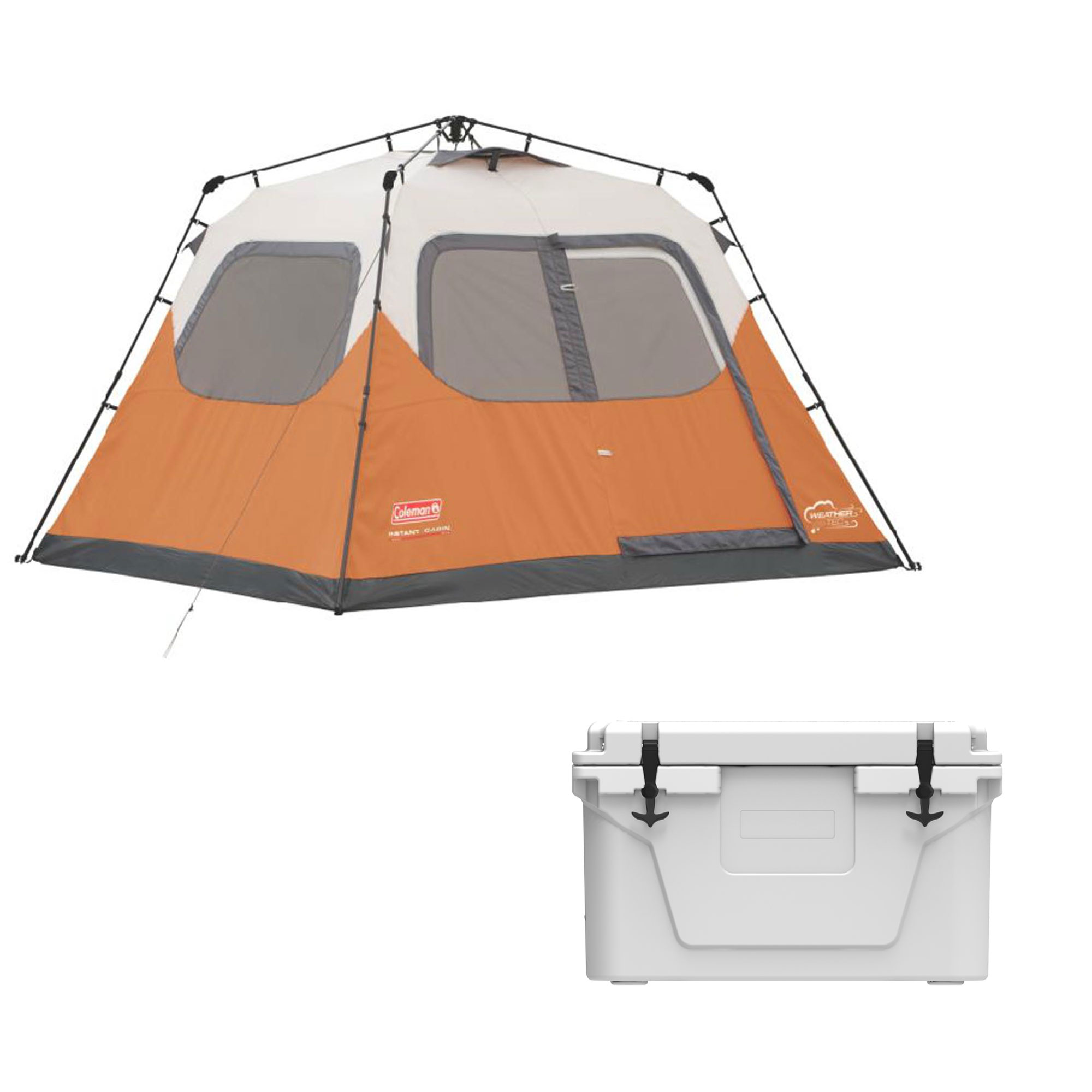 Coleman 6 Person 10' x 9' Family Camping Instant Tent and Uriah Products Cooler