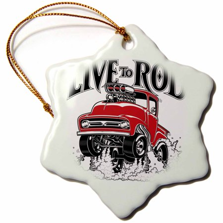 - 3dRose Live to rod with this 1956 street racing pick up, wheelies and flames - Snowflake Ornament, 3-inch