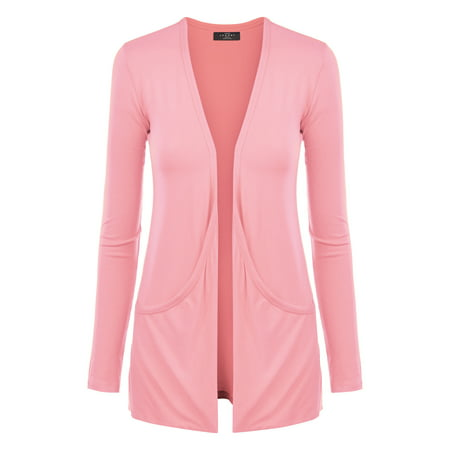 Draped Pocket Cardigan (MBJ WSK848 Womens Draped Pocket Cardigan L PINK )