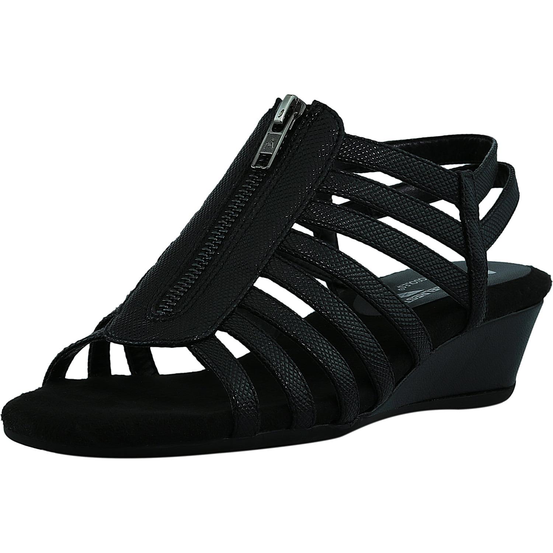 Aerosoles Women's Yet Away Faux Leather Black Snake Sandal 8M by Aerosoles