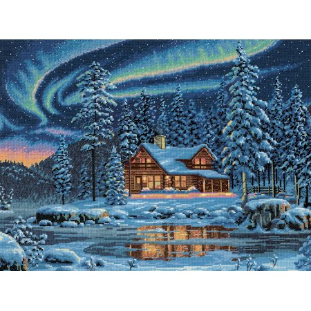 """Gold Collection Aurora Cabin Counted Cross Stitch Kit-16""""X12"""" 16 Count - image 1 de 1"""