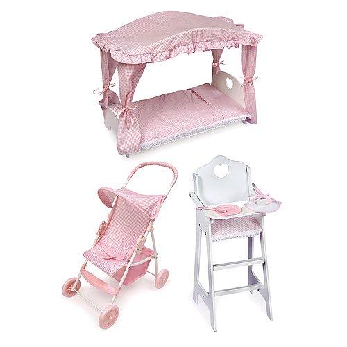 Badger Basket Doll Furniture Set: Highchair, Umbrella Stroller, And Canopy  Bed