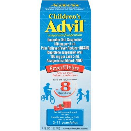 Children's Advil® Liquid Suspension Fever Reducer/Pain Reliever (Ibuprofen) in Fruit Flavor 100mg 4 fl. oz. Box