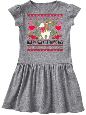 Happy Valentine's Day Sloth and Llama Ugly Sweater Style Toddler Dress