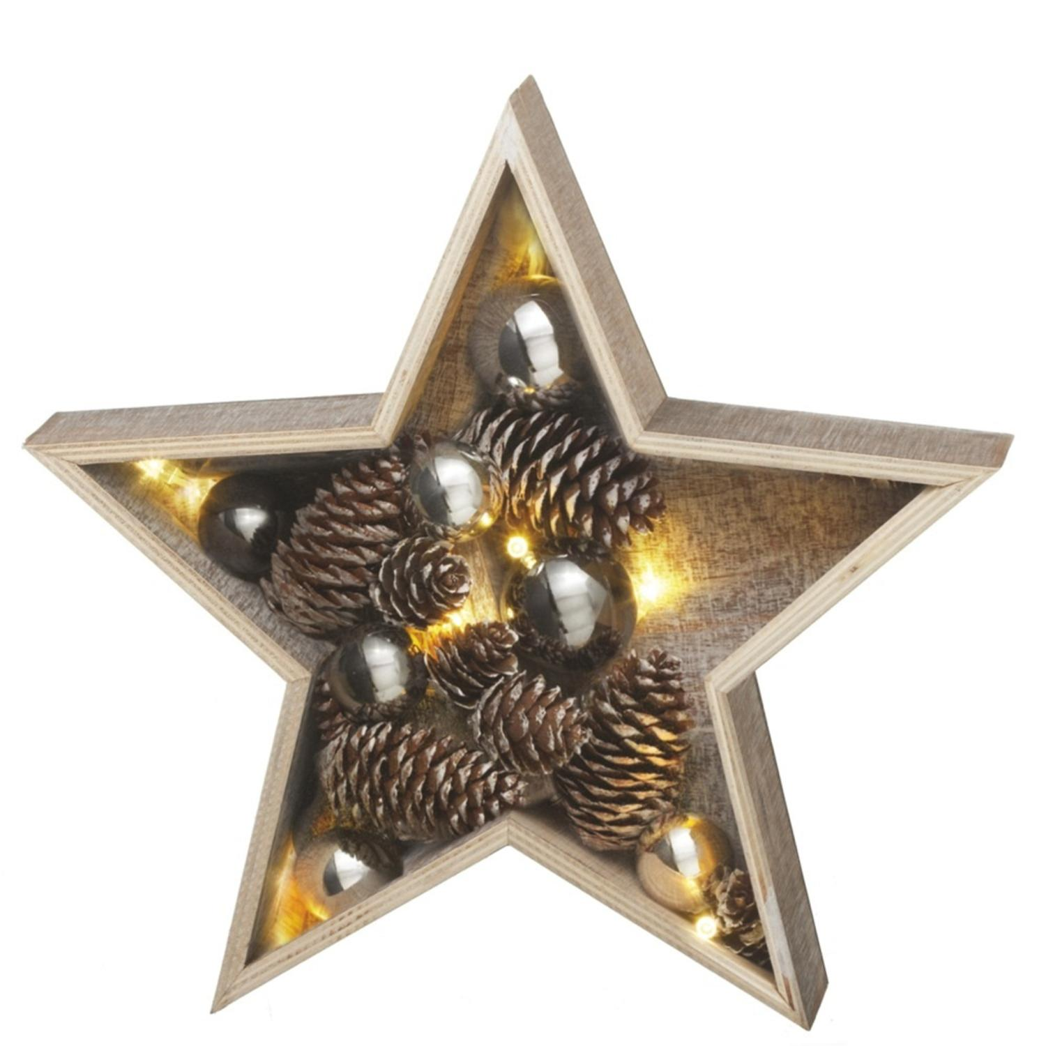 """15"""" Battery Operated LED Lighted Medium Country Rustic Wooden Star Christmas Decoration"""