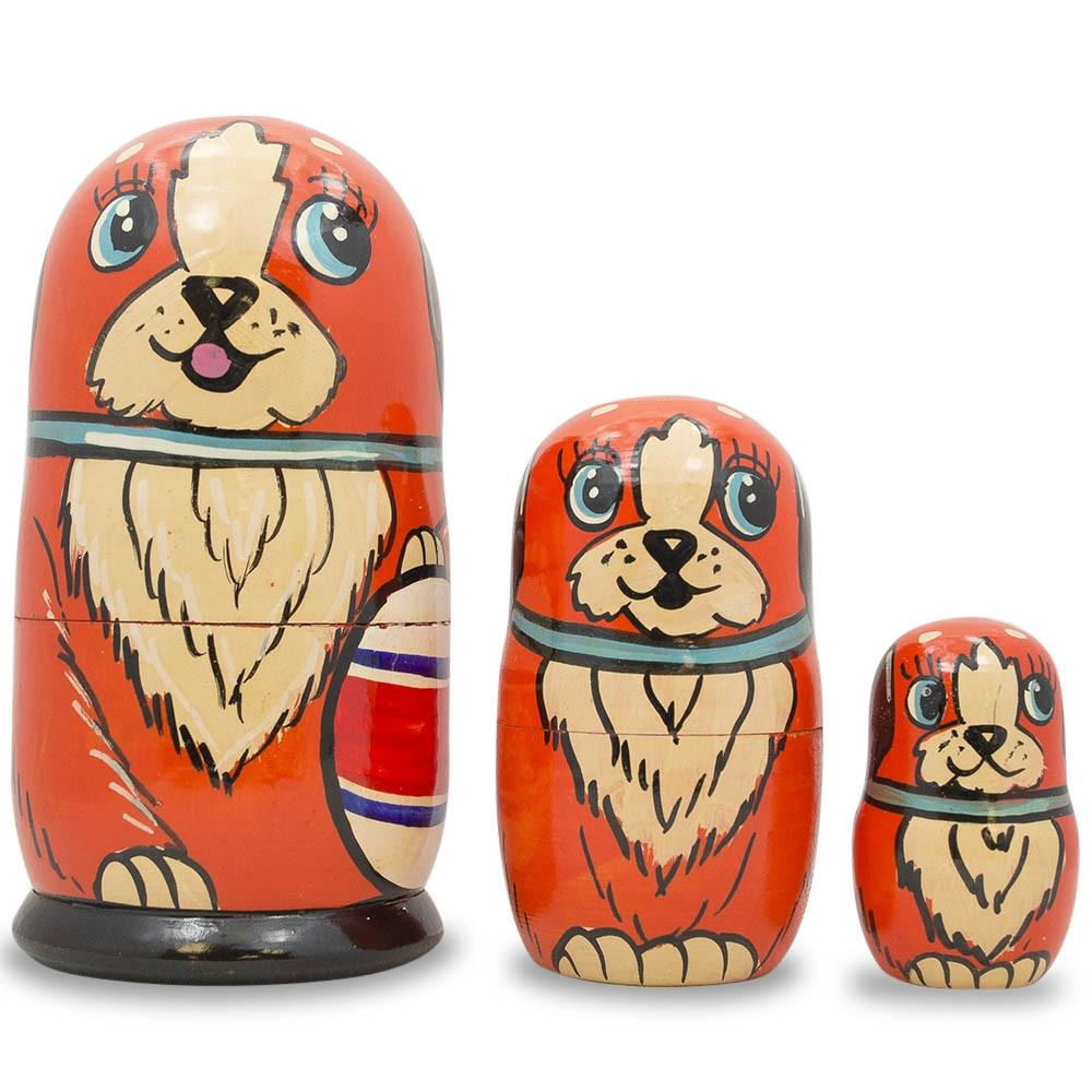 "5"" Set of 3 Dogs with Ball Matryoshka Wooden Russian Nesting Dolls"