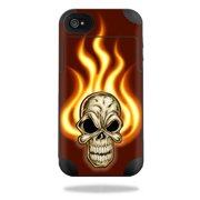 Mightyskins Protective Vinyl Skin Decal Cover for Mophie Juice Pack Plus iPhone 4 / 4S External Battery Case wrap sticker skins Burning Skull