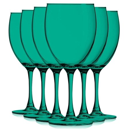 Emerald Green Colored Nuance Wine Glassware - 10 oz. set of 6- Additional Vibrant Colors Available by TableTop King - Purple Champagne Glasses