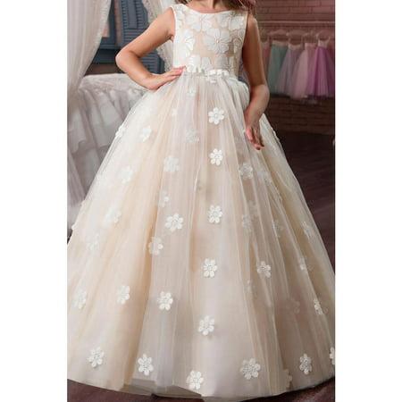 Kids Girls Sleeveless Flower Lace Wedding Dress - Wisteria Color Dress