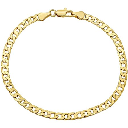 14K Yellow Gold 4.2mm Hollow PAVE Cuban Link Chain Bracelet