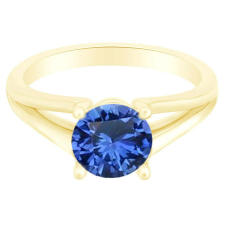 Round Simulated Sapphire Split Shank Solitaire Ring 1 Cttw 14k Yellow Gold Over Sterling Silver-8