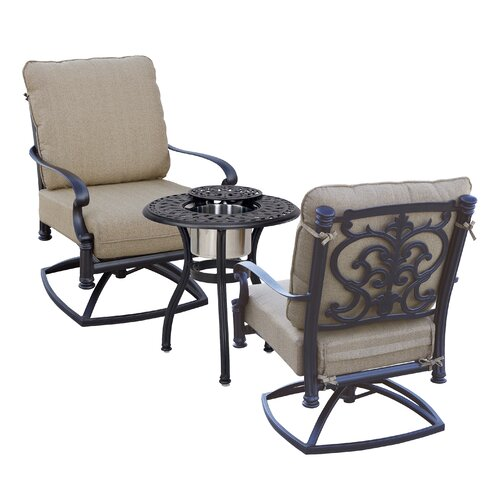 Astoria Grand Palazzo Sasso 3 Piece Conversation Set with Cushions