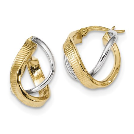 14k Yellow and White Gold Two-tone Polished/Line Texture Twisted Double Hoop Earrings Length 19.98mm - image 2 de 2