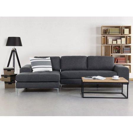 Modern Corner Sectional Sofa L-Shape Chrome Legs Dark Gray Kiruna