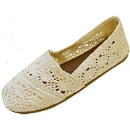 Womens Canvas Crochet Slip on Shoes Flats (7/8, Cream 3008)