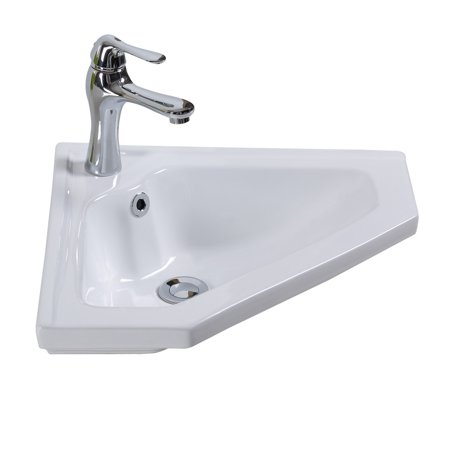 Modern Bathroom Wall Mount Corner Sink White Single Faucet Hole with (Overflow Corner)