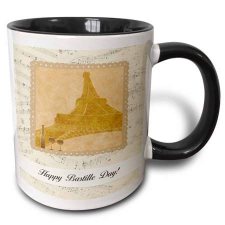 3dRose Eiffel Towel, Wine Glasseseasonss and Bottle on Music Notes, Happy Bastille Day , Two Tone Black Mug, 11oz