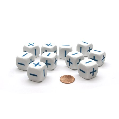 Pack of 10 20mm D6 Math Operation Additon Subtraction Dice - White with Blue