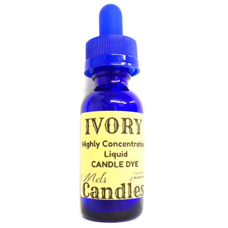 Liquid Candle Dye (Ivory) - 1oz Amber Glass Dropper Bottle with Childproof Lid Premium Dye for All Waxes Exp Soy Wax - Beer Bottle Candles