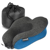 Fosmon Travel Neck Pillow, Soft and Comfortable Memory Foam Neck Cushion, Head & Chin Support Travel Pillow - Blue