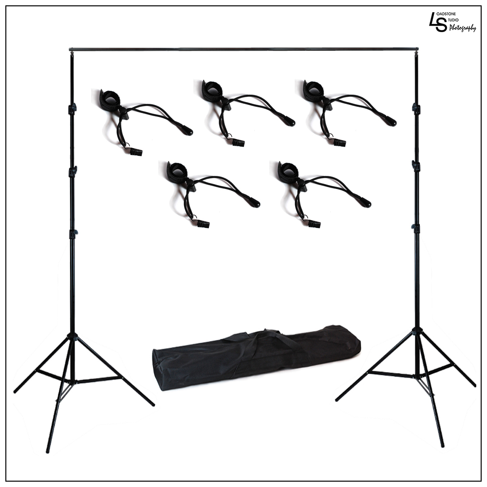 10' Foot Adjustable Background Support System Stand Kit with 4 Piece Backdrop Holders for Photo Lighting by Loadstone Studio WMLS0416