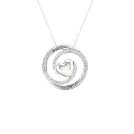 Imperial 1/8Ct TDW Diamond S925 Sterling Silver Swirl Heart Pendant Necklace (H-I, I2)