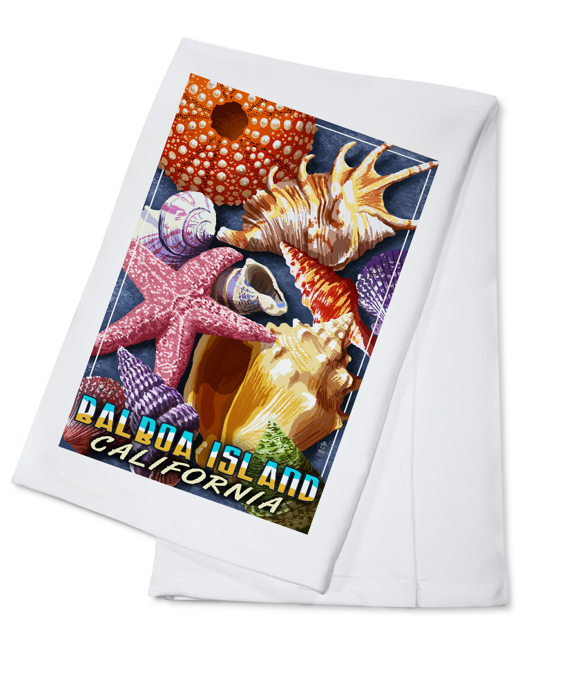 Balboa Island, California Shells Montage Lantern Press Artwork (100% Cotton Kitchen Towel) by Lantern Press
