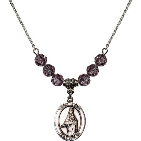 18 Inch Rhodium Plated Necklace With 6Mm Light Purple February Birth Month Stone Beads And Saint Emma Uffing Charm