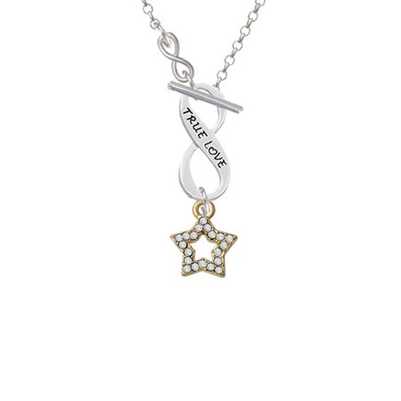 Open Gold Tone Star With Clear Crystals   To Infinity True Love Toggle Necklace